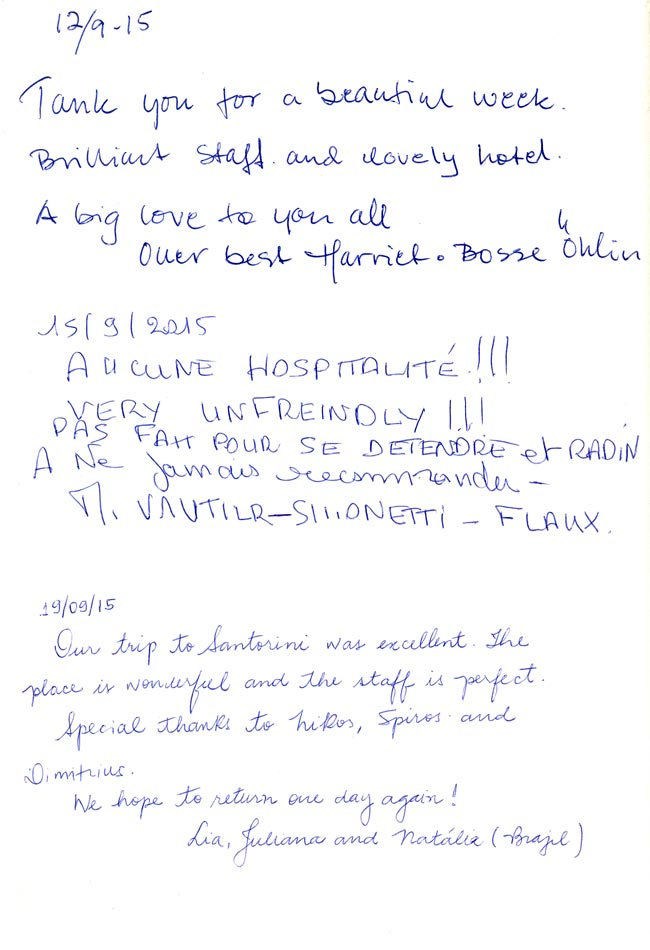 Guest Book of Nikos Villas Santorini